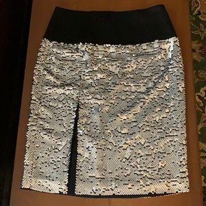 DKNY silver sequin skirt